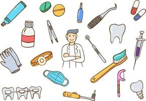 dentist doctor jobs profession concept doodle hand drawn vector