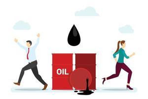 concepto de derrame de petróleo con gente corriendo asustado con estilo plano moderno vector