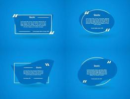 Set Of Flat Blue Quotation Frame Banner Template vector