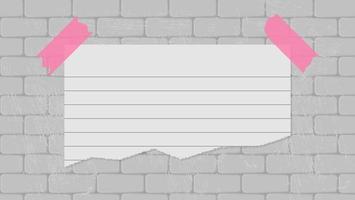 Hoja de papel de nota adhesiva en blanco en el fondo de la pared de ladrillo sucio vector