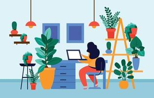 Home Office Plants Composition vector