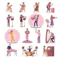 aprender música conjunto de iconos vector