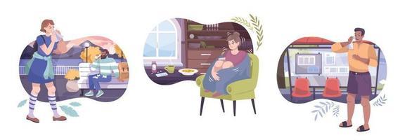 Conjunto de composiciones de síntomas de resfriado. vector