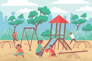 City Children Playground Composition vector