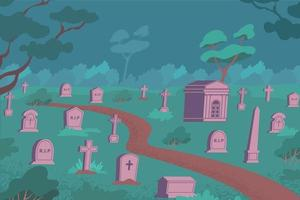 Cemetery Night Flat Composition vector