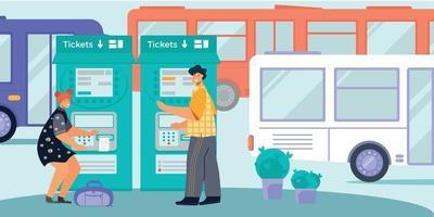 Transport Ticket Flat Composition vector