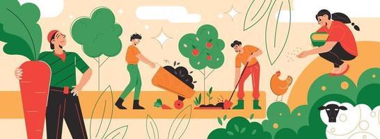 Garden Farm Works Composition vector