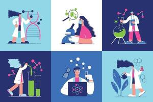 Science Laboratory Square Icons Set vector