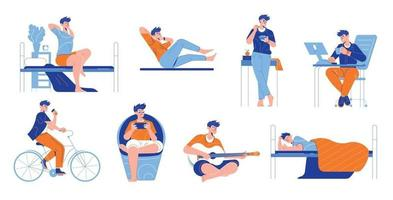 Man Daily Routine Set vector