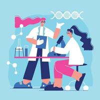 Science Laboratory Flat Background vector