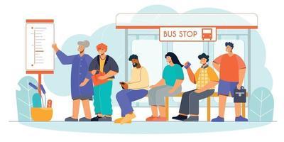 Public Transport Stop Flat vector