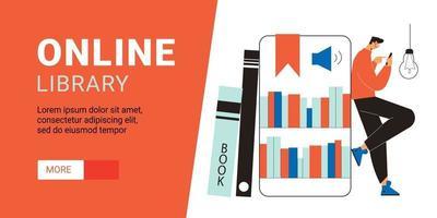 banner horizontal de biblioteca en línea vector