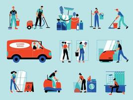 Cleaning Service Color Set vector