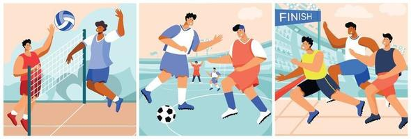 Sports Flat Compositions Set vector
