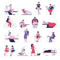 Daily Routine Icons Collection vector