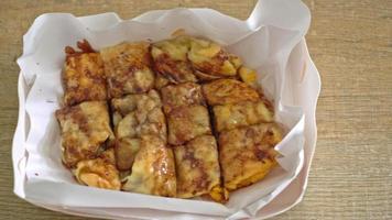 fried roti with egg, banana and chocolate sauce video
