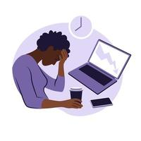 Professional burnout syndrome. Illustration tired african female. vector