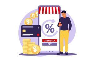 Cash back concept. Saving money. Loyalty program. vector