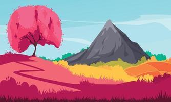 Japan Landscape Sakura Composition vector