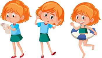 Set of a girl cartoon character with different positions vector