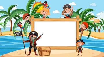 Empty wooden frame with pirate kids cartoon character at the beach vector