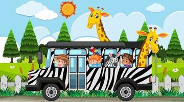Safari scene at daytime with kids and animals on bus vector