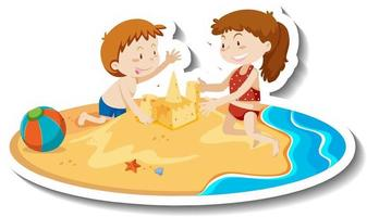 Two kids building sand castle at the beach vector