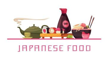 Japanese Food Text Composition vector