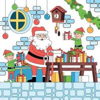 Christmas Coloring Elfs Composition vector
