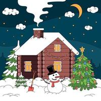 Winter House Christmas Composition vector