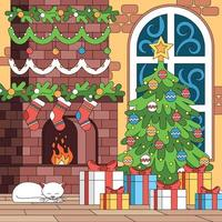 Christmas Coloring Indoor Composition vector