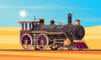 Steam Locomotive Desert Composition vector