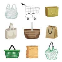 Shopping Bag And Basket Set vector