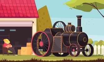 Steam Engine Car Composition vector