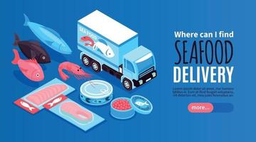 Seafood Delivery Horizontal Banner vector