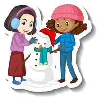 Two girls building a snowman cartoon character sticker vector