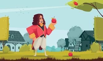 newton con composición de manzana vector