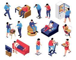 colección de iconos de obesidad isométrica vector