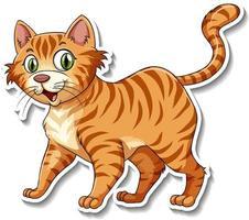 A sticker template of cat cartoon character vector