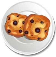 Top view of chocolate chip cookies in plate vector