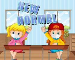 New Normal with students keep social distancing in the classroom vector