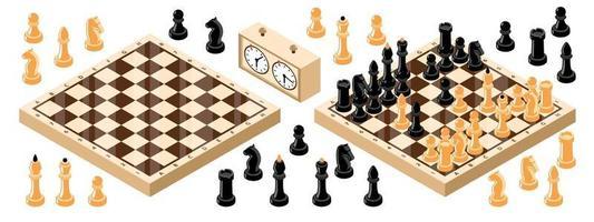 Isometric Chess Board Set vector