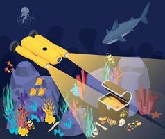 Underwater Vehicles Machines Isometric Composition vector