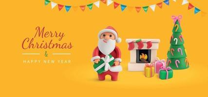 Merry Christmas Yellow Greeting Card vector