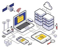 Web Hosting Isometric Composition vector