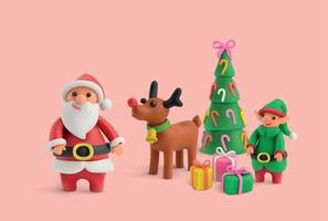 Merry Christmas Plasticine Realistic Background vector