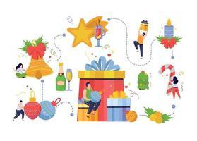 Merry Christmas Flowchart Composition vector