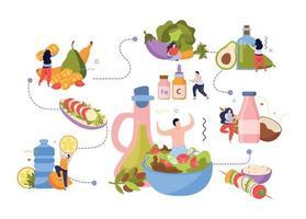 Vegan Food Flowchart Composition vector