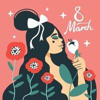 Tarjeta de mujer 8 de marzo vector