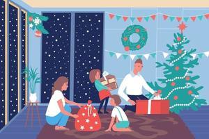 Christmas Family Home Composition vector